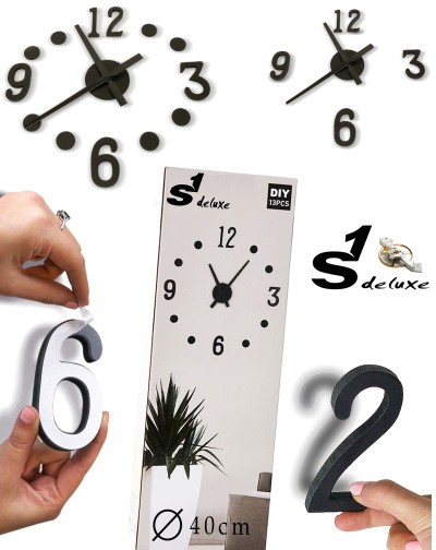 Kit reloj de pared adhesivo de color negro S1 Deluxe