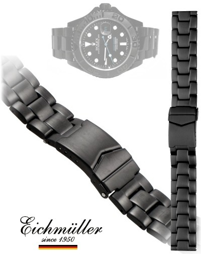 Correa de reloj OYSTER STYLE NEGRO MATT 22mm